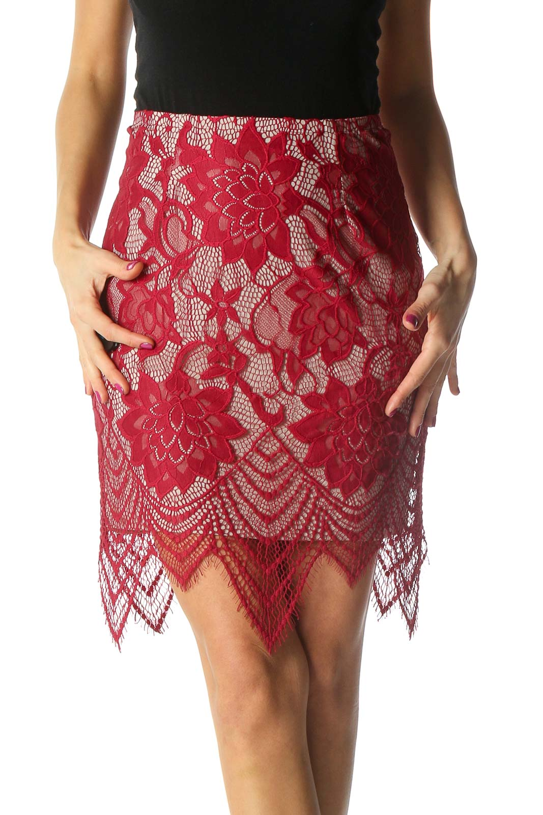 Red Lace Chic Straight Skirt Front