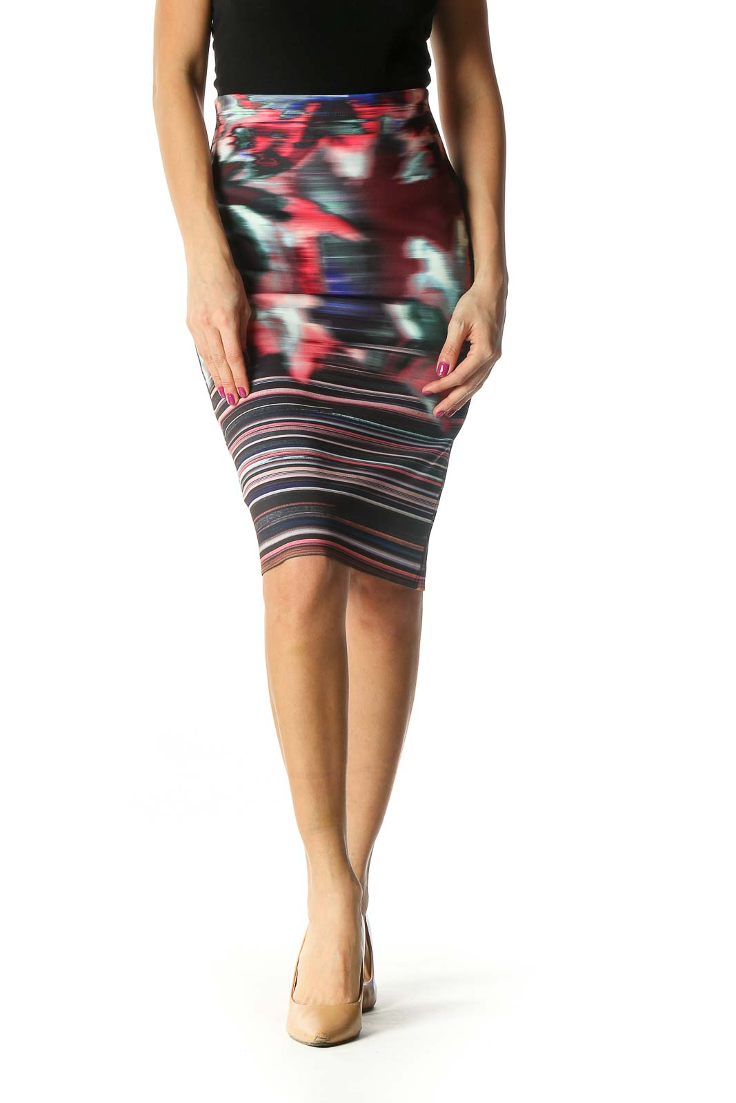 Brown Camouflage Print Brunch Pencil Skirt Front