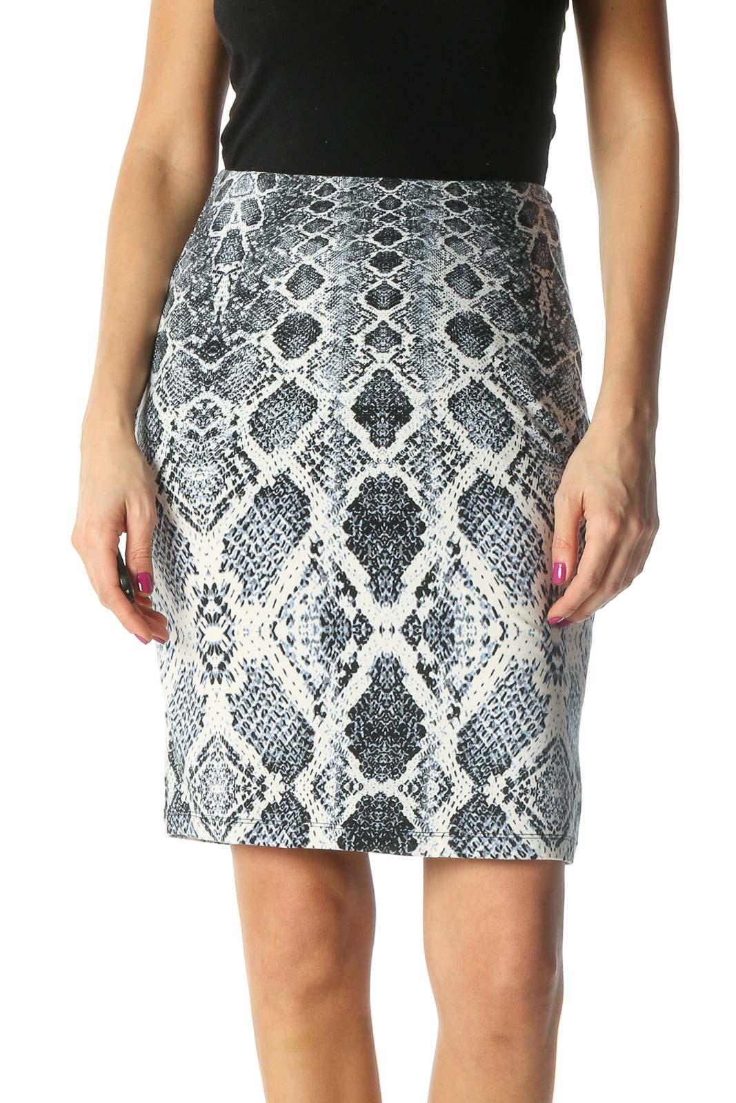 White Animal Print Brunch Pencil Skirt Front