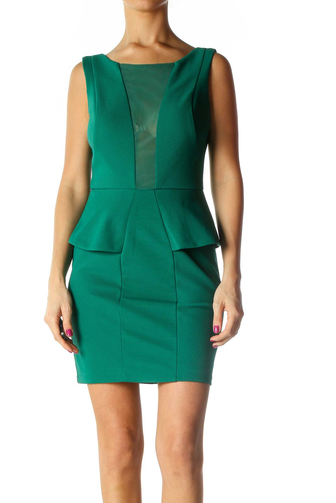 Green Solid Sheath Dress Front