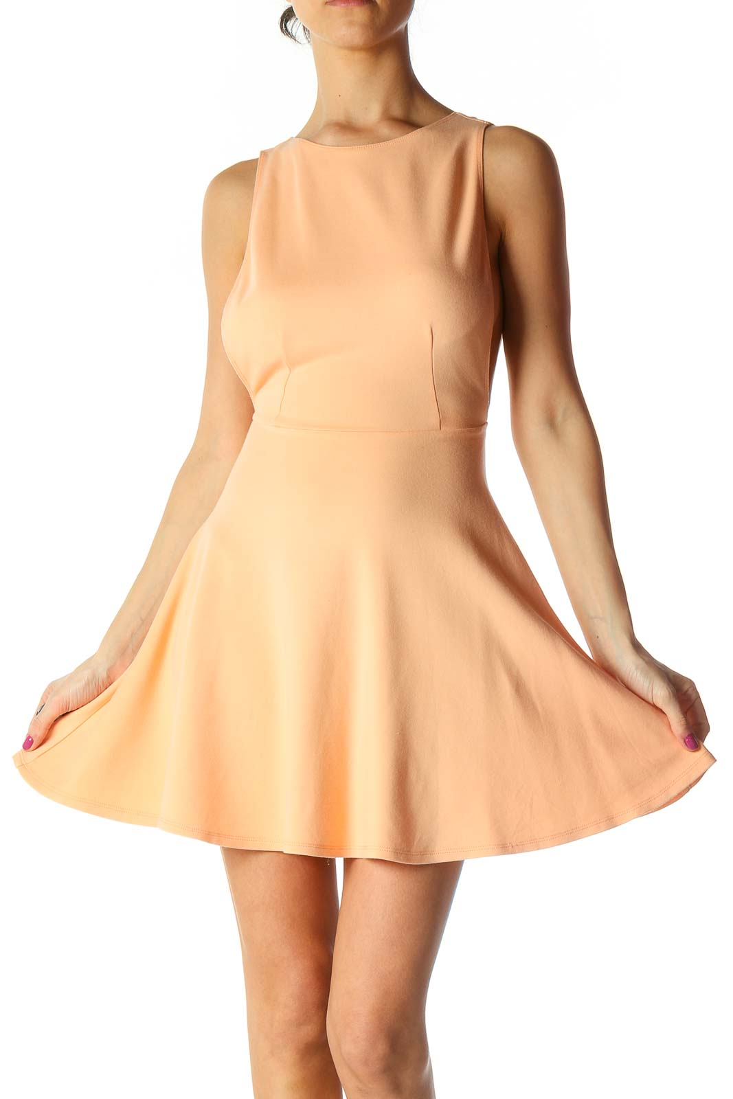 Orange Solid Chic Fit Flare Dress Front