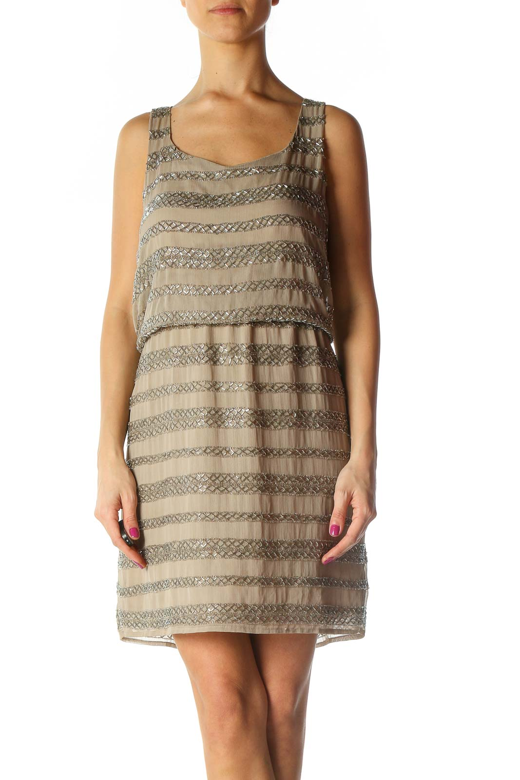 Beige Beaded Chic A-Line Dress Front