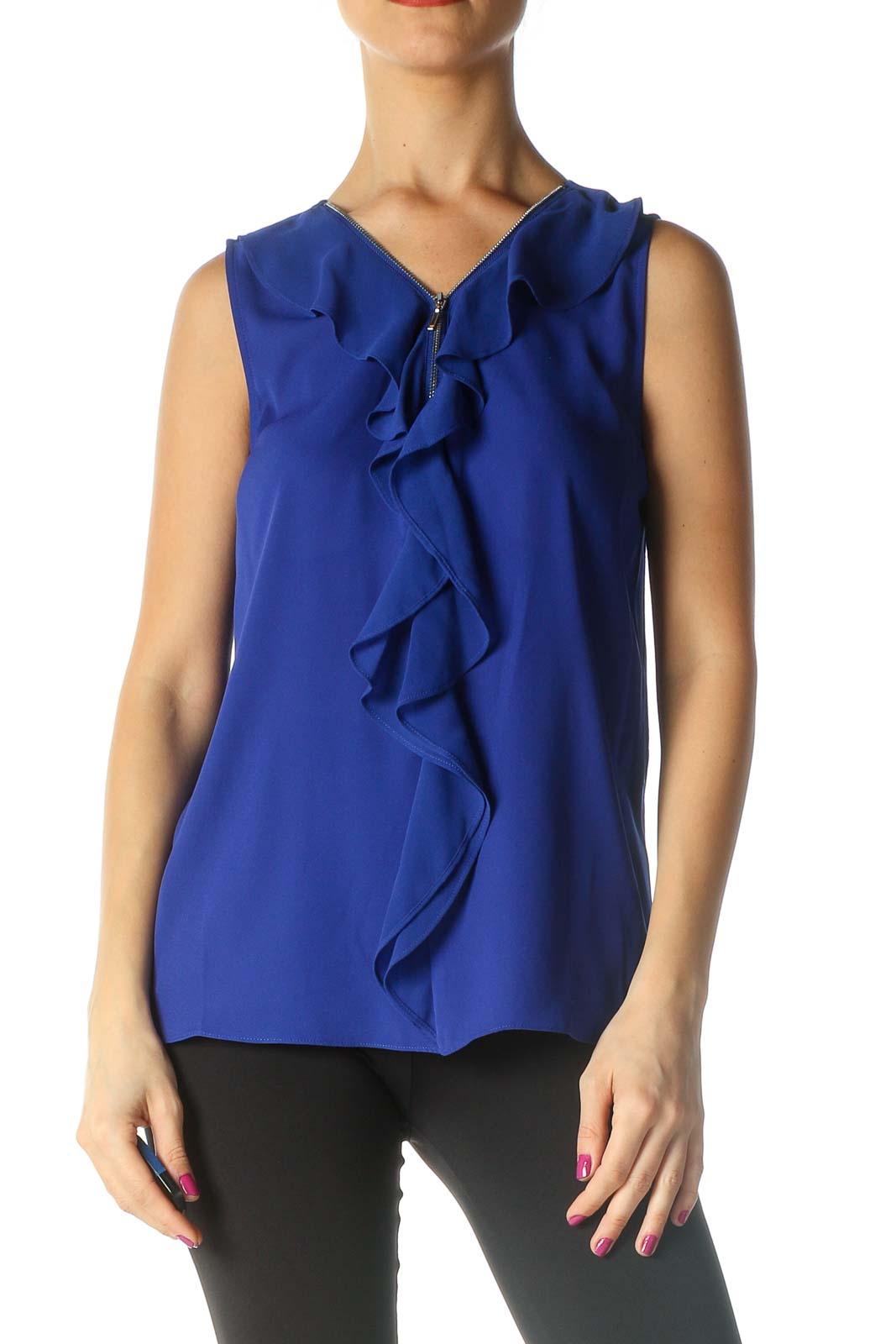 Blue Solid Blouse Front
