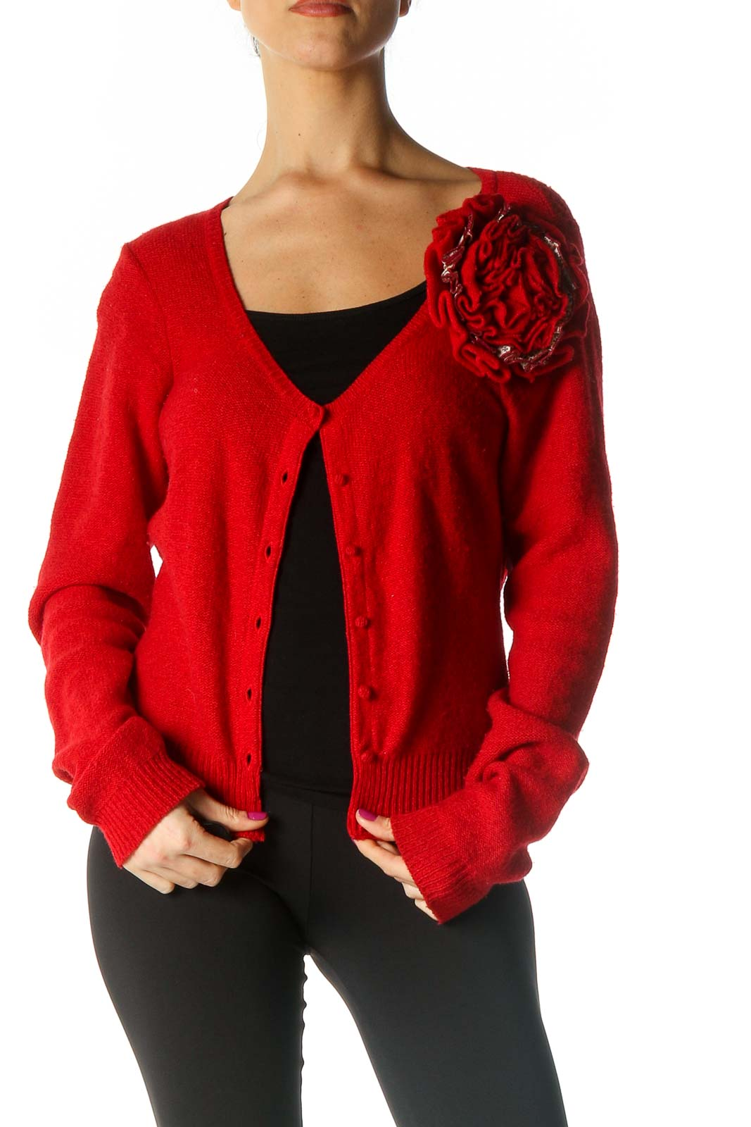 Red Solid Cardigan Front
