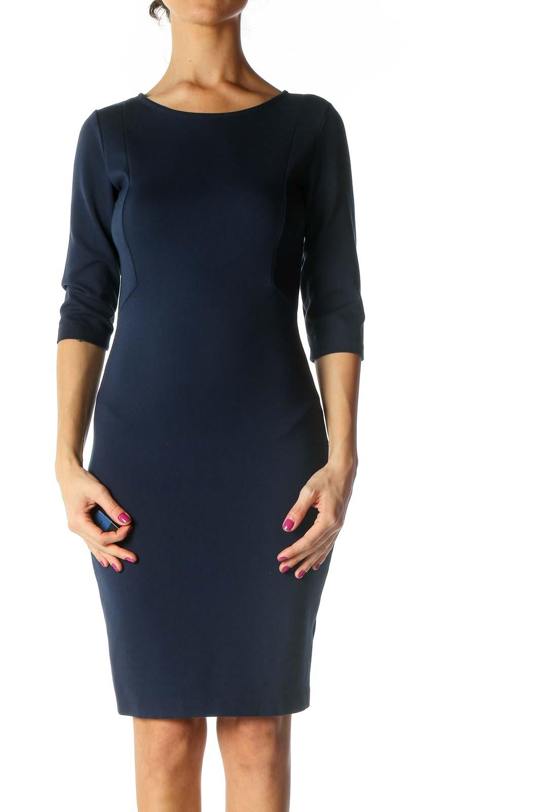 Blue Solid Sheath Dress Front