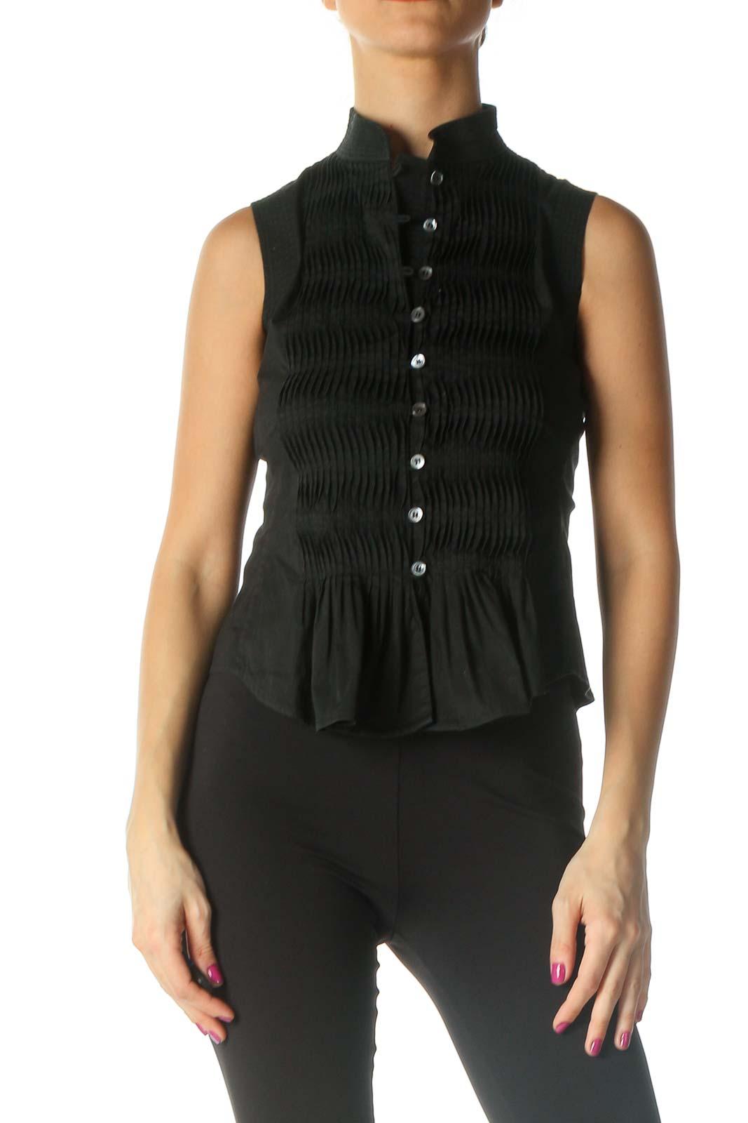 Black Solid Retro Shirt Front