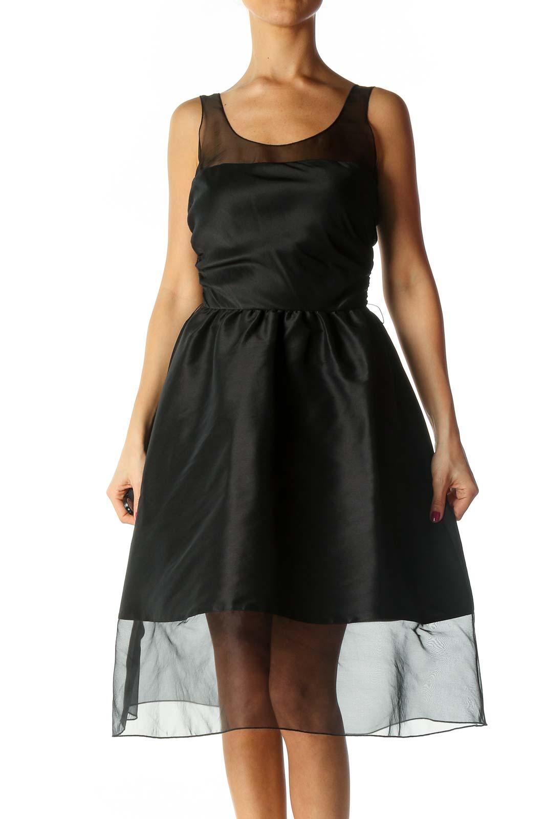Black Solid Cocktail Dress Front