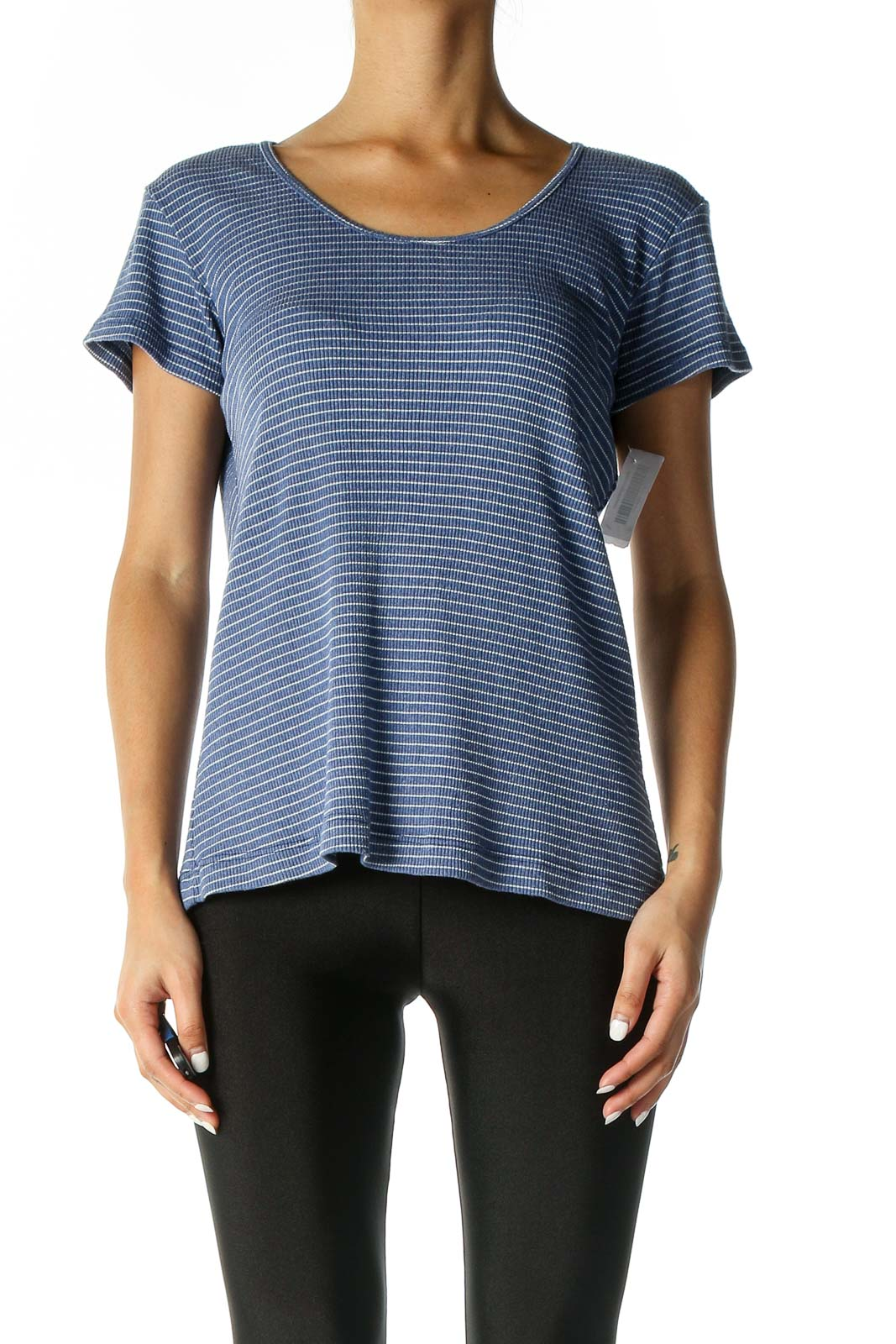 Blue Striped Casual Blouse Front