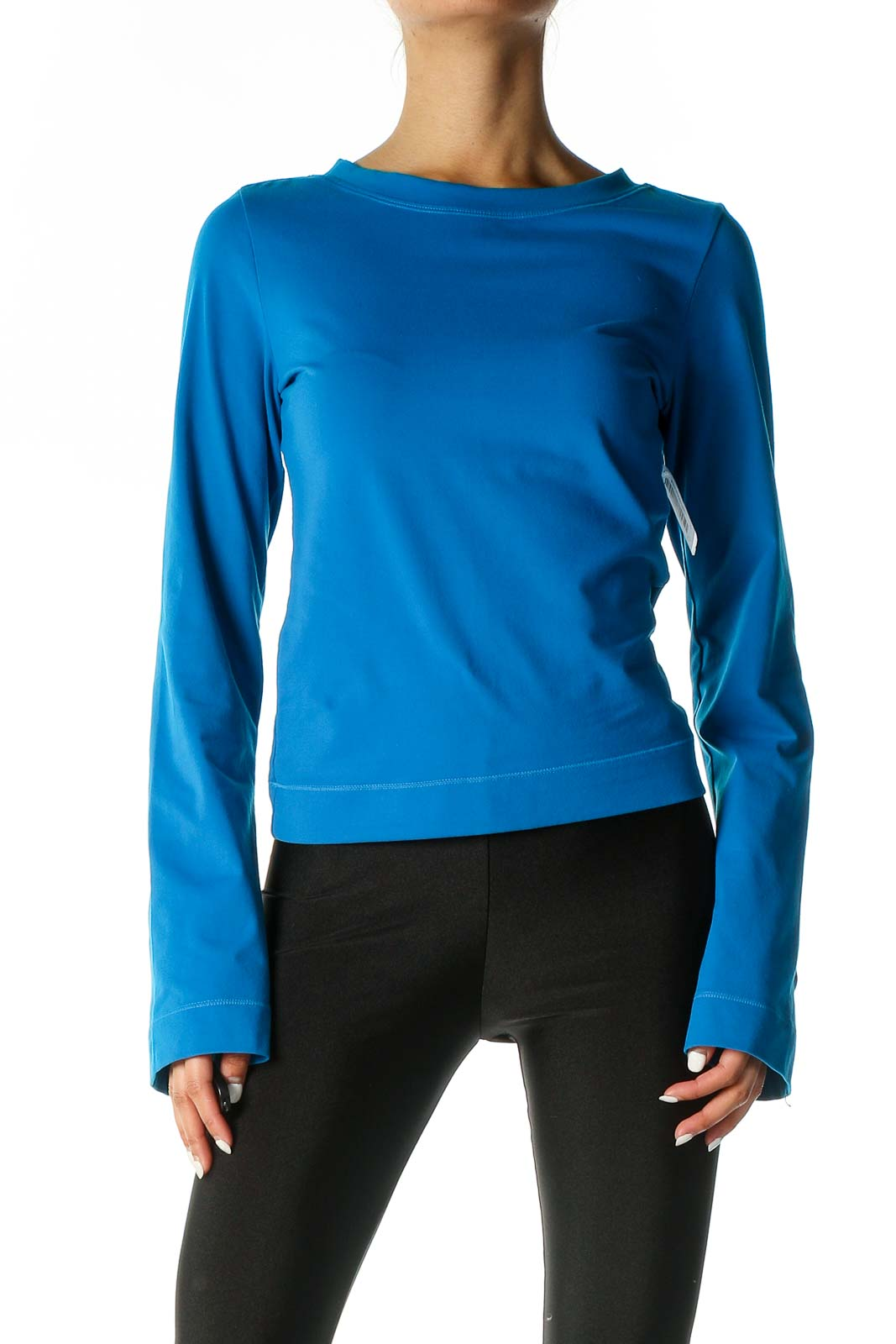 Blue Solid Classic T-Shirt Front