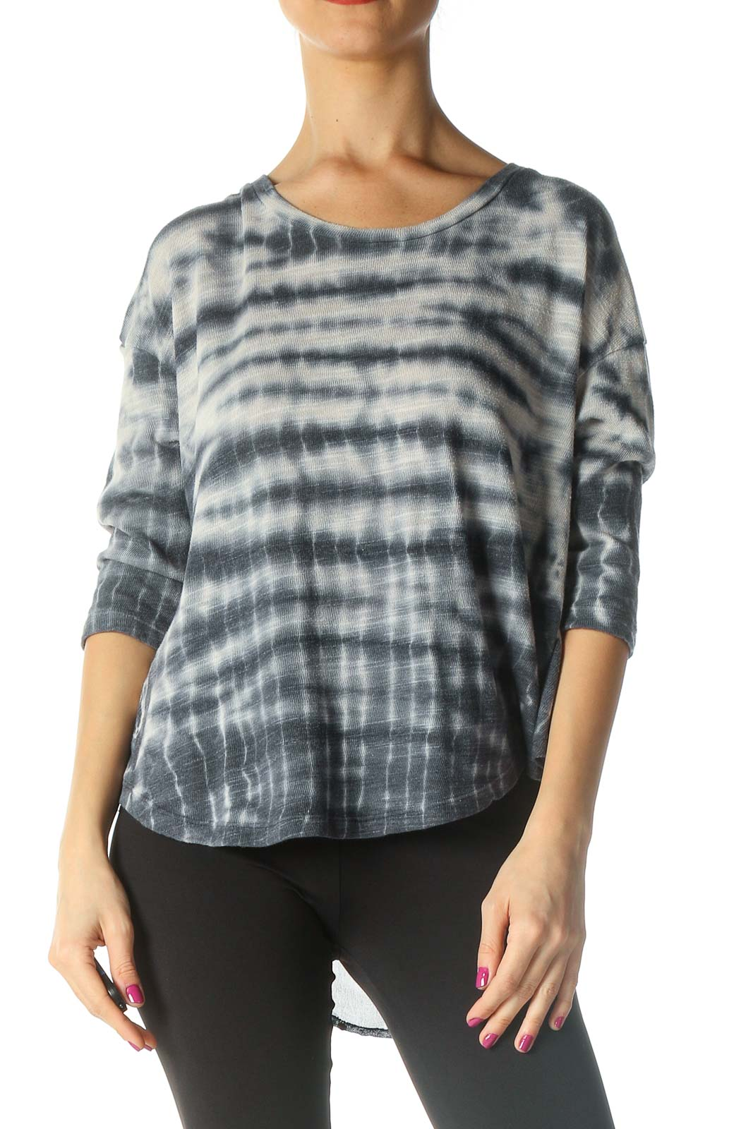 Gray Tie Dye Casual T-Shirt Front