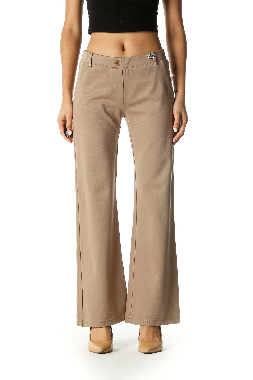 Brown Casual Bootcut Pants Front