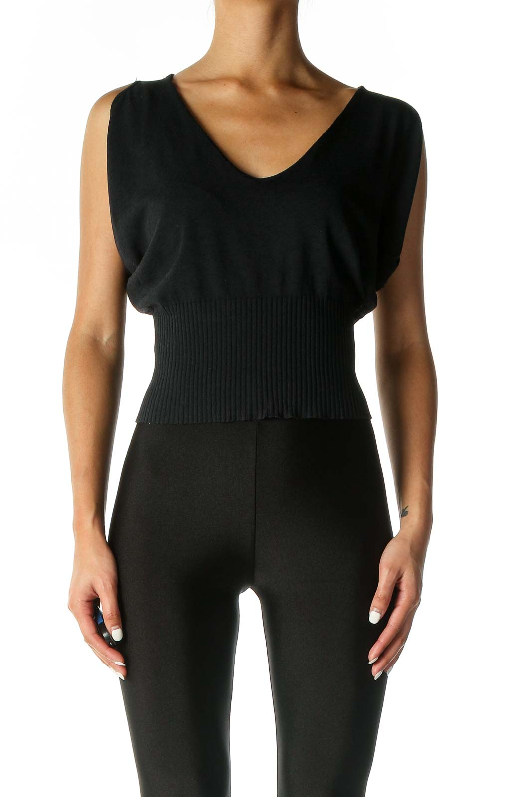 Black Solid Casual Top Front
