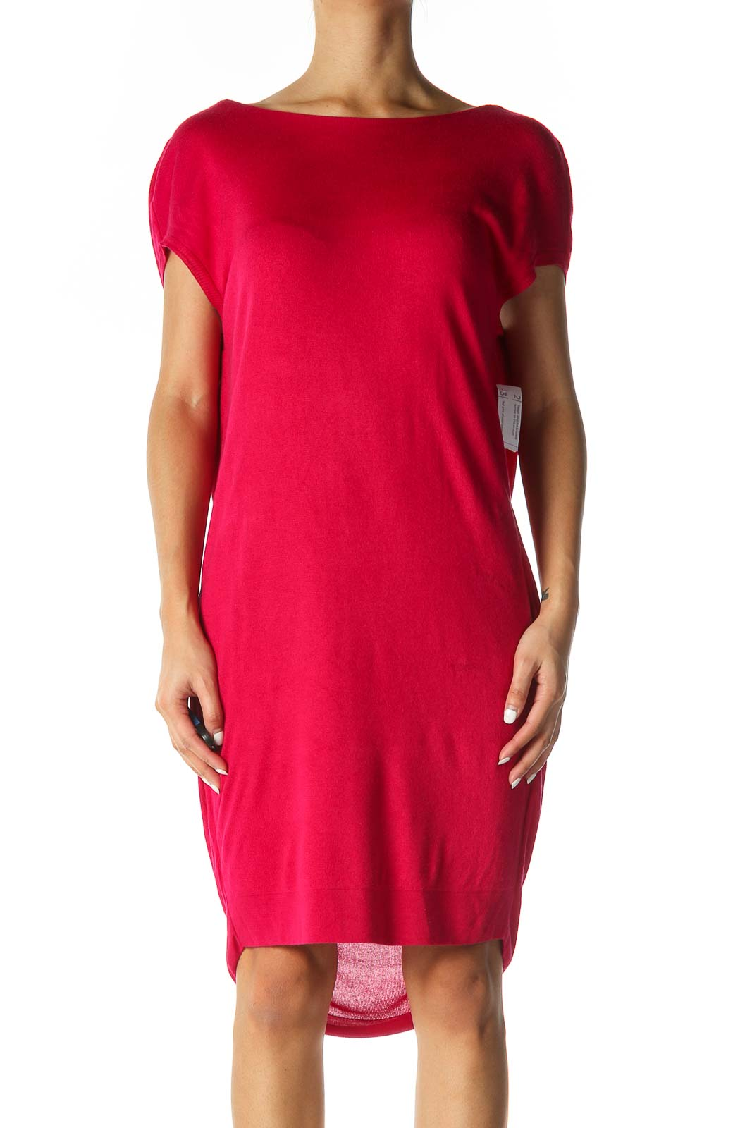 Pink Solid Casual Sheath Dress Front