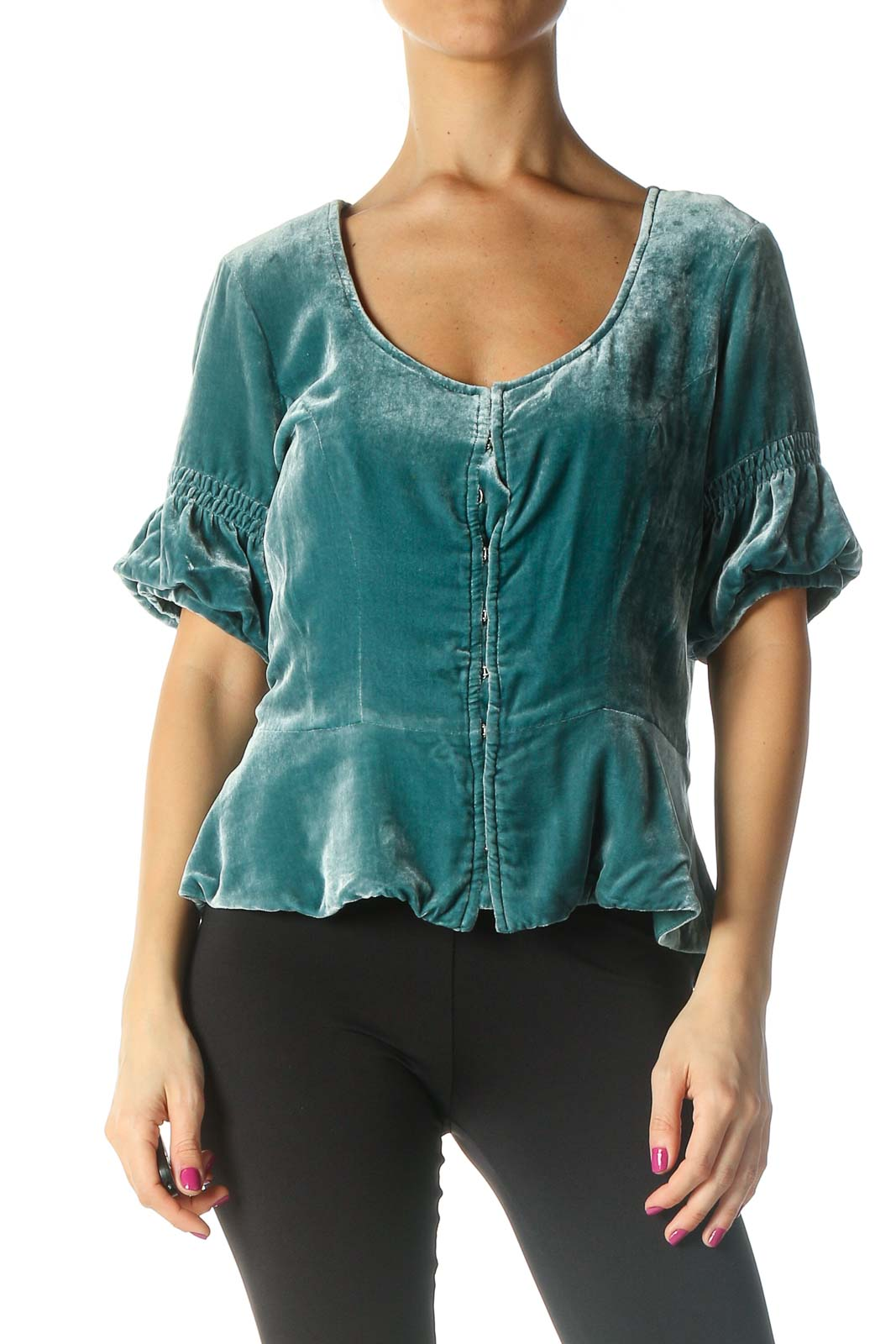 Green Solid Casual Blouse Front