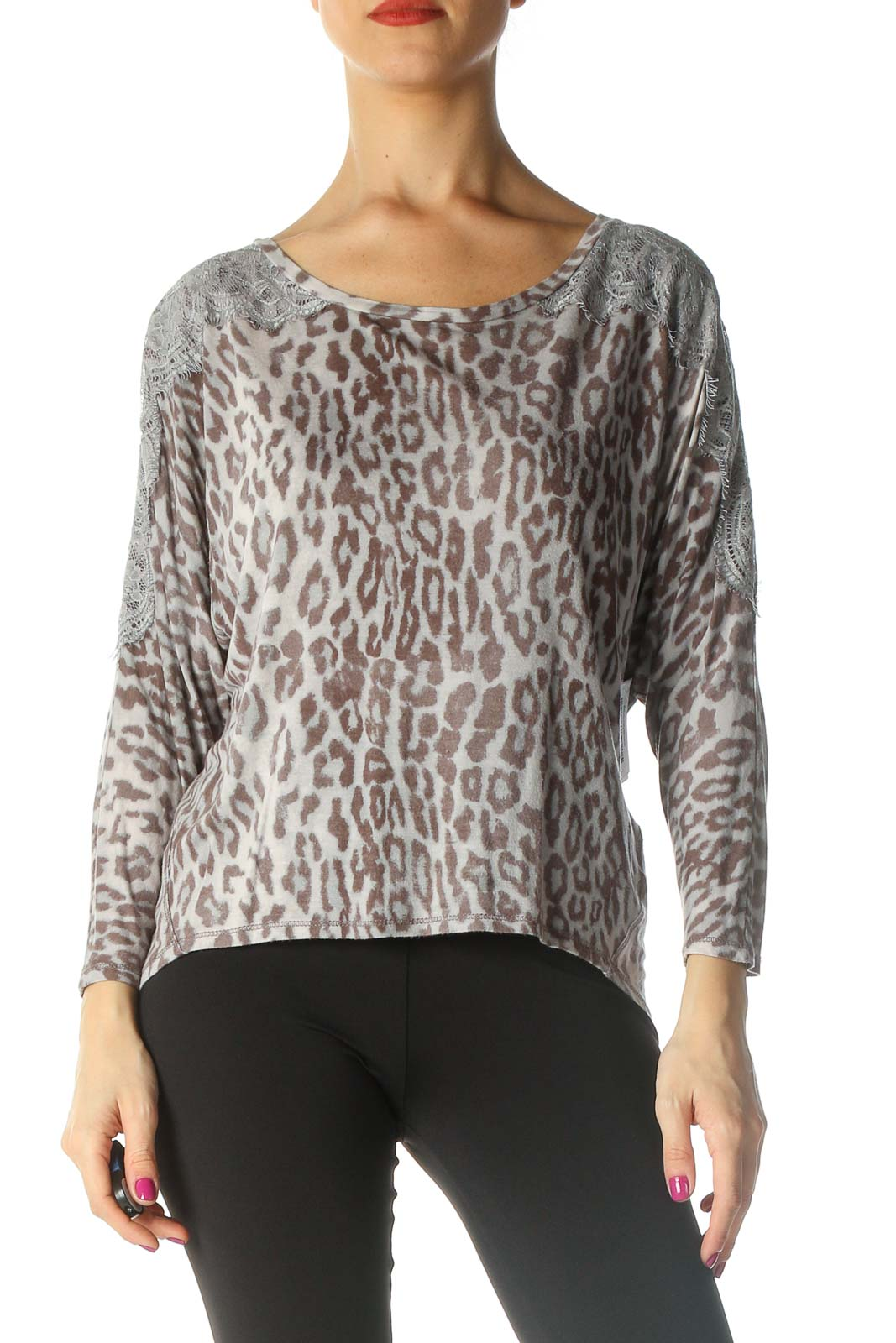 Beige Animal Print Casual Blouse Front
