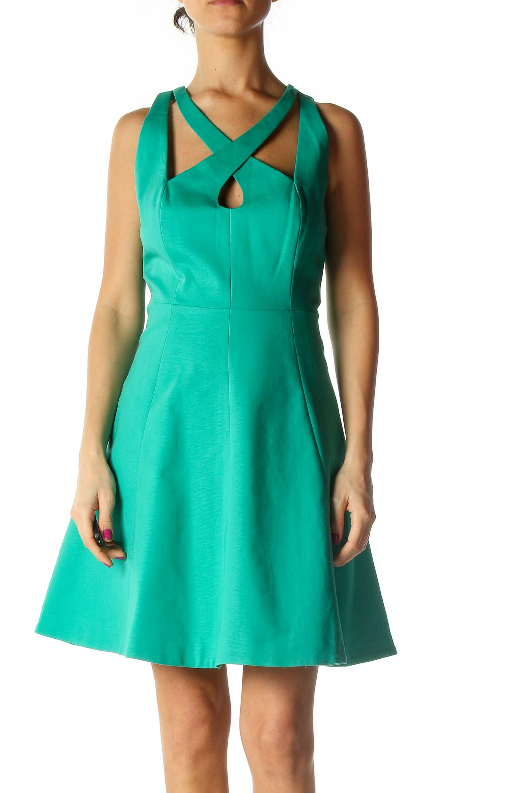 Green Solid A-Line Dress Front
