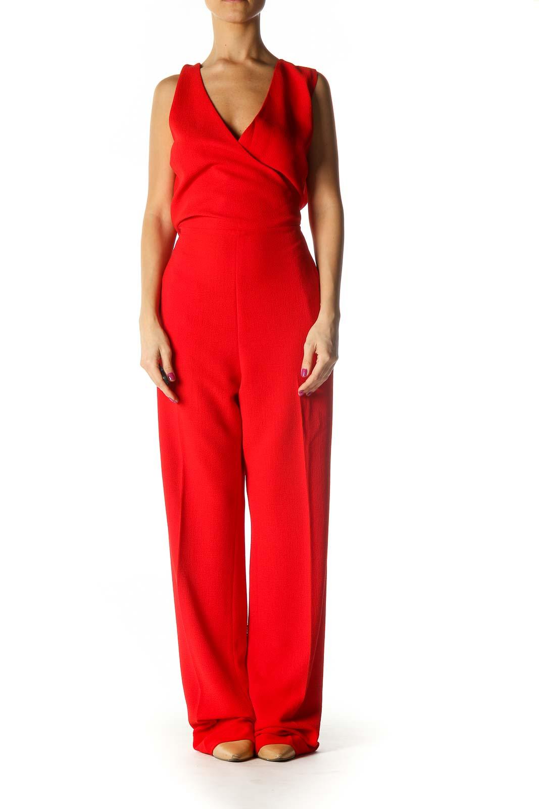 Red V-Neck Chic Jumpsuit Front