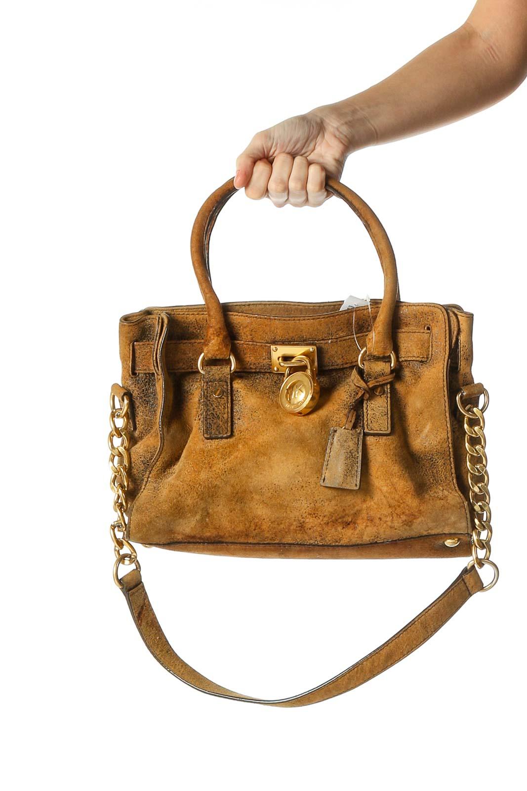 Brown Suede Leather Handbag Front