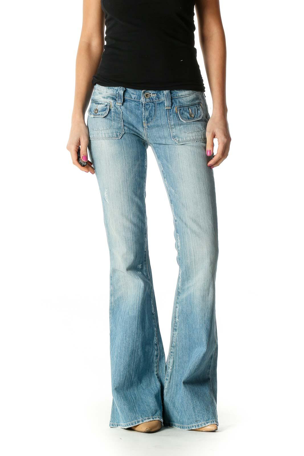 Blue Retro Bootcut Jeans Front