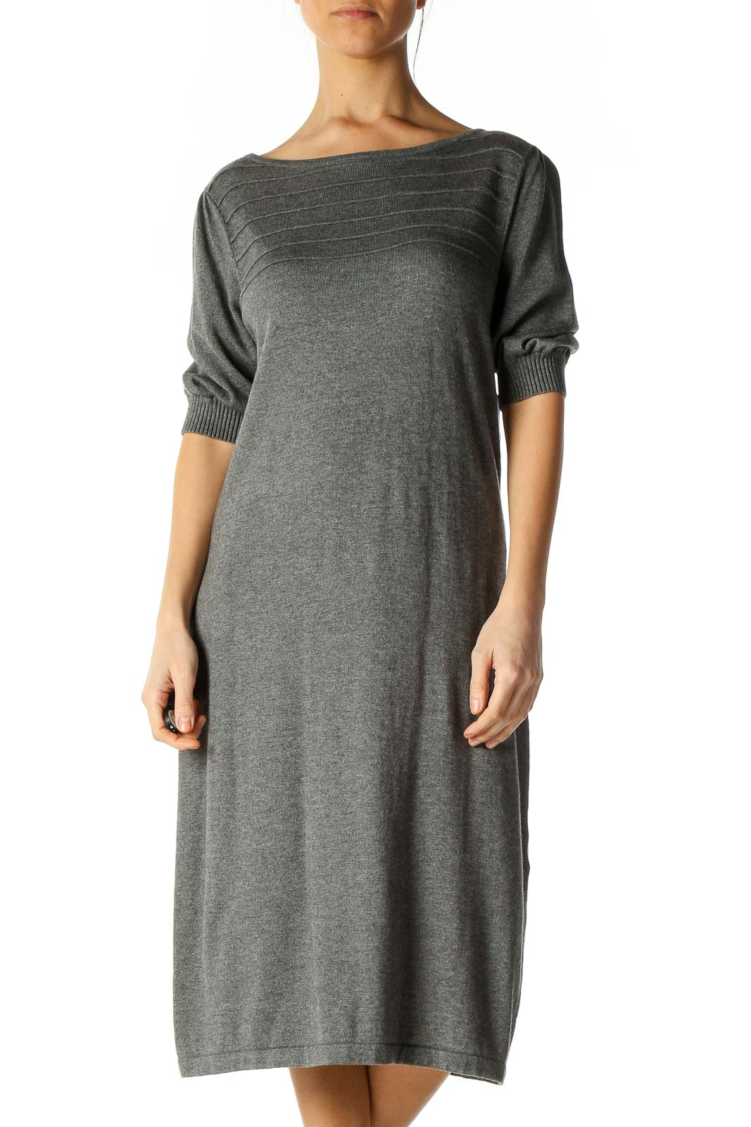 Gray Textured Casual Shift Dress Front