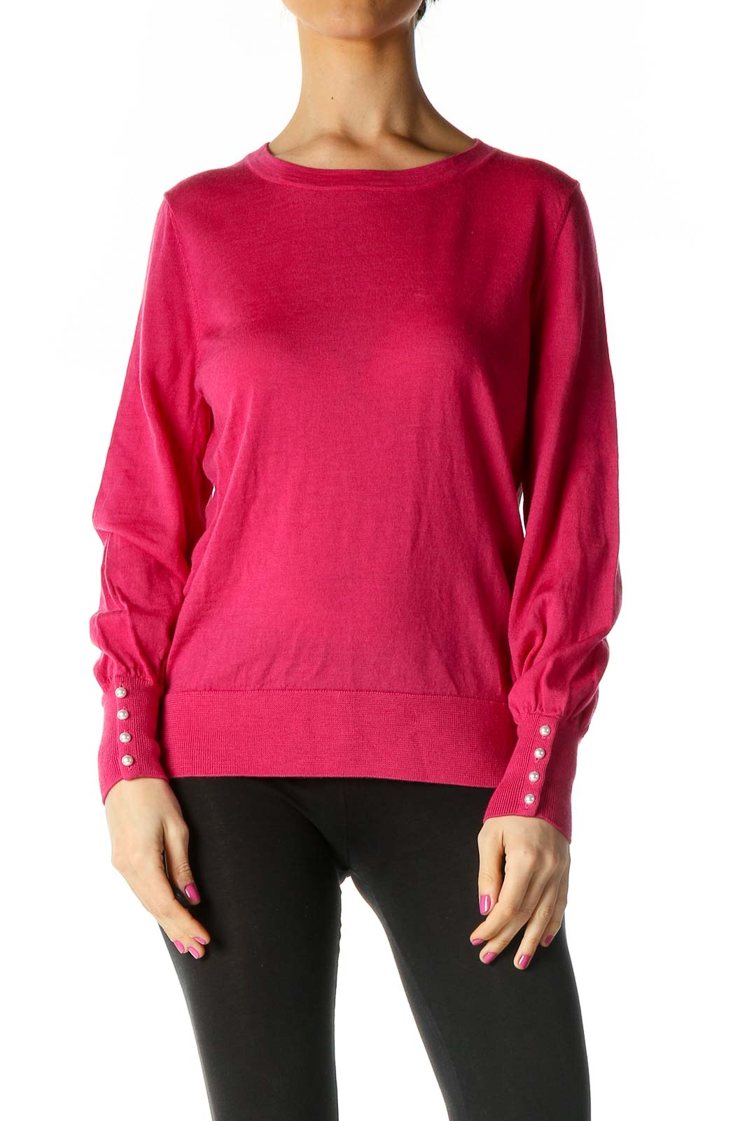 Pink Solid Casual Blouse Front