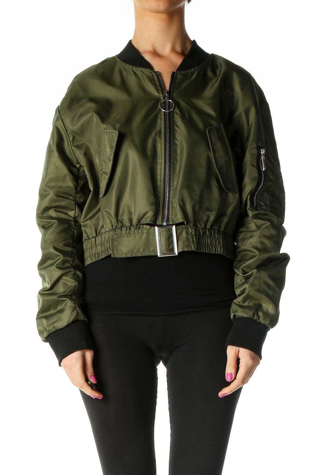Green Bomber Jacket Front