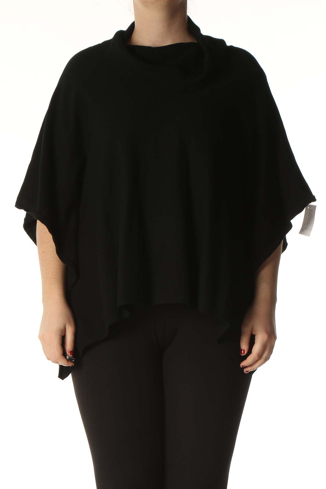 Black Solid Classic Blouse Front
