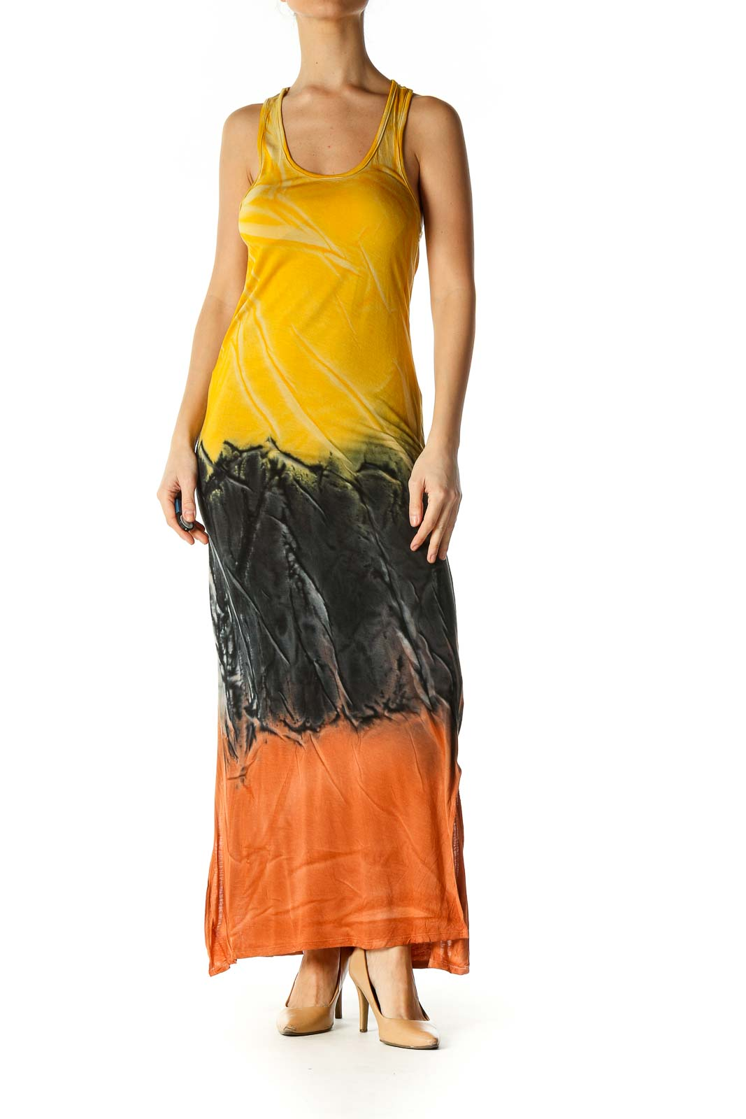 Yellow Tie Dye Casual Dress Front