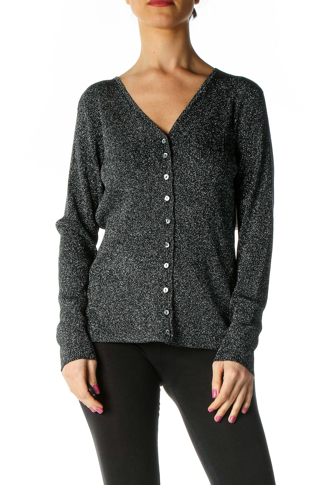 Black Textured Sweater Front