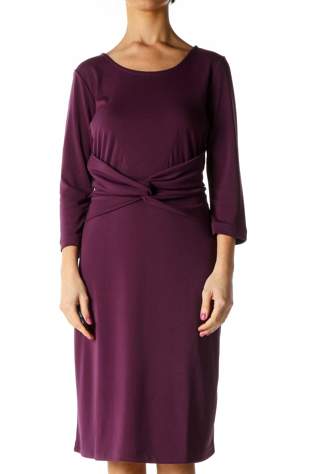 Purple Solid Retro Shift Dress Front