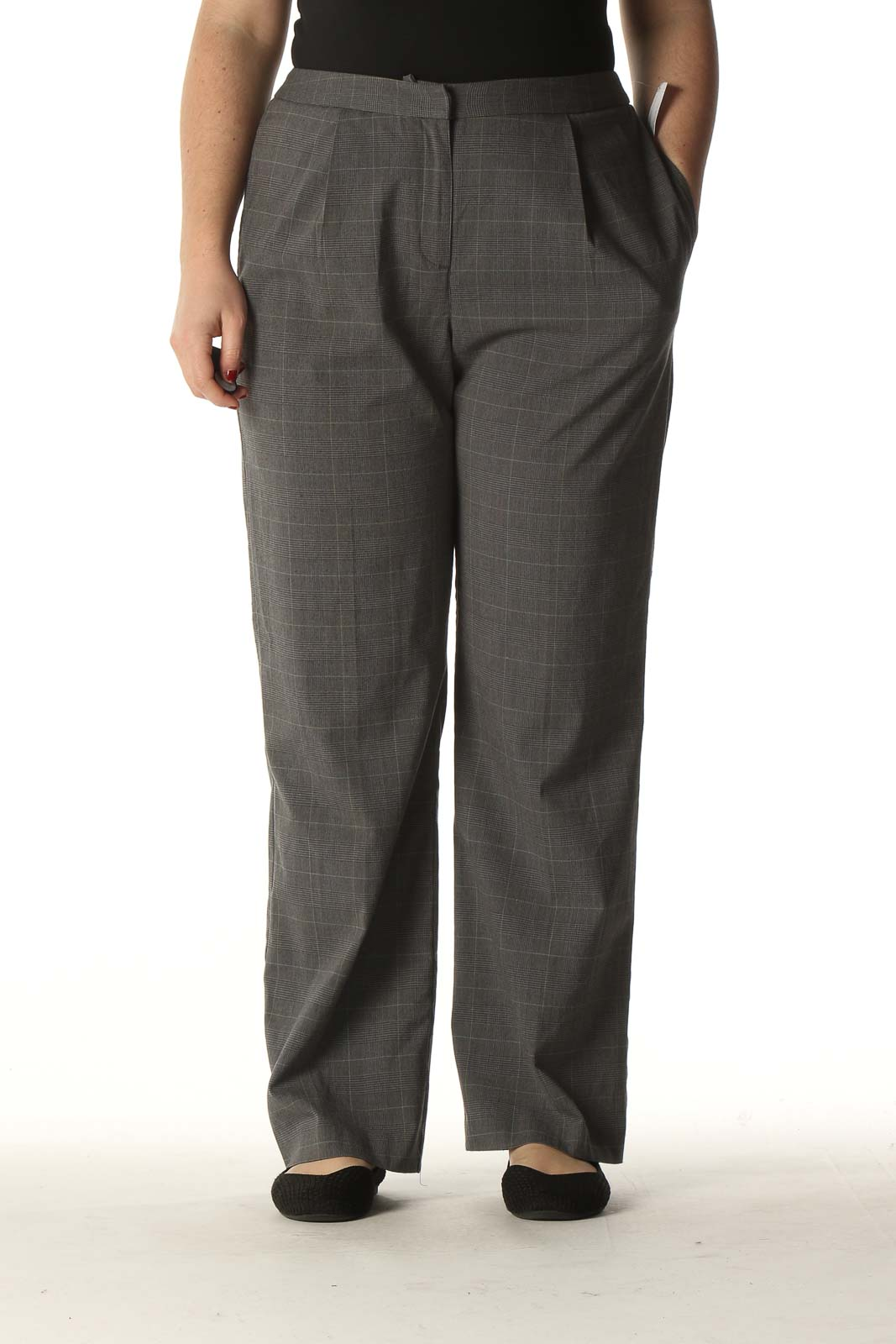 Gray Checkered Classic Slacks Front
