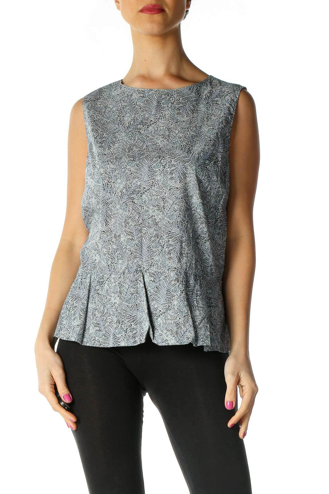 Gray Textured Blouse Front