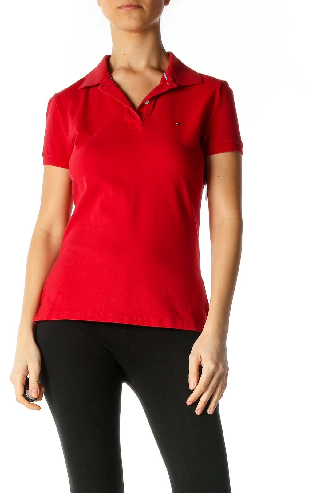 Red Solid Casual Polo Shirt Front