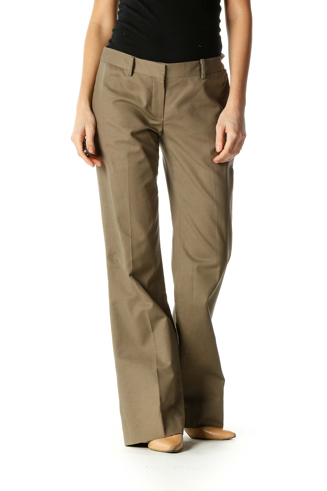 Brown Solid Formal Trousers Front