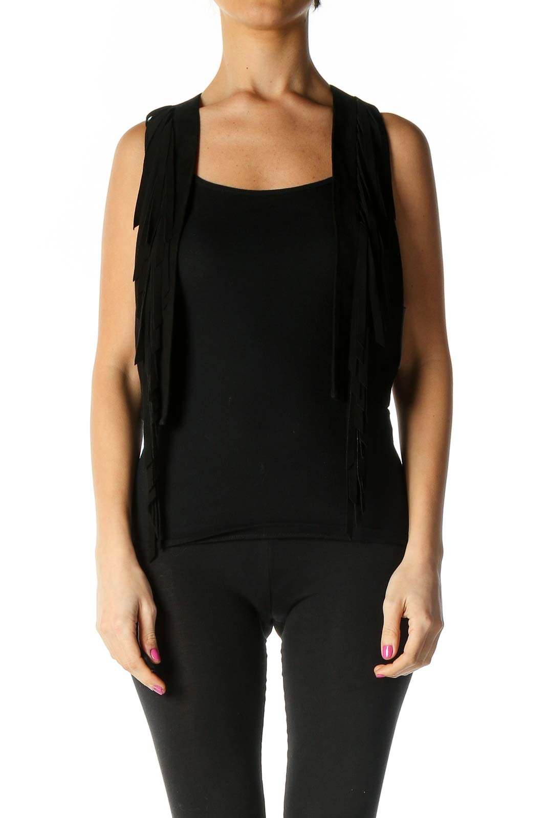 Black Solid Tank Top Front