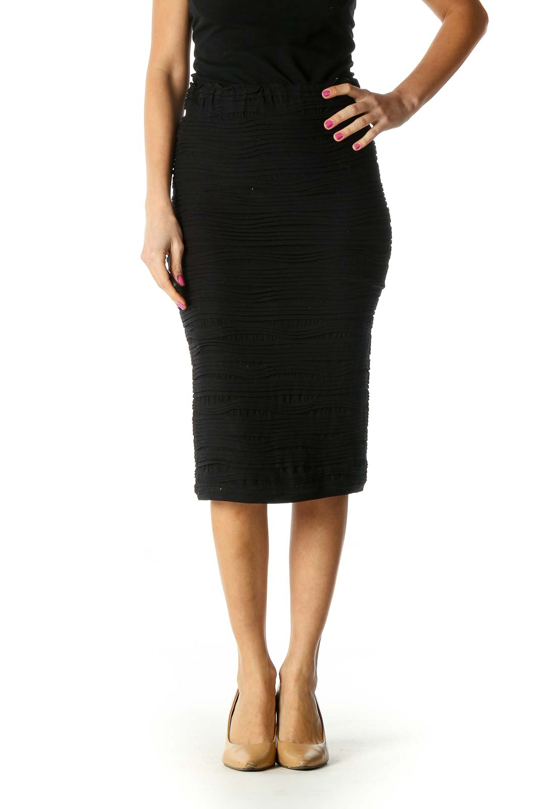 Black Textured Pencil Skirt Front