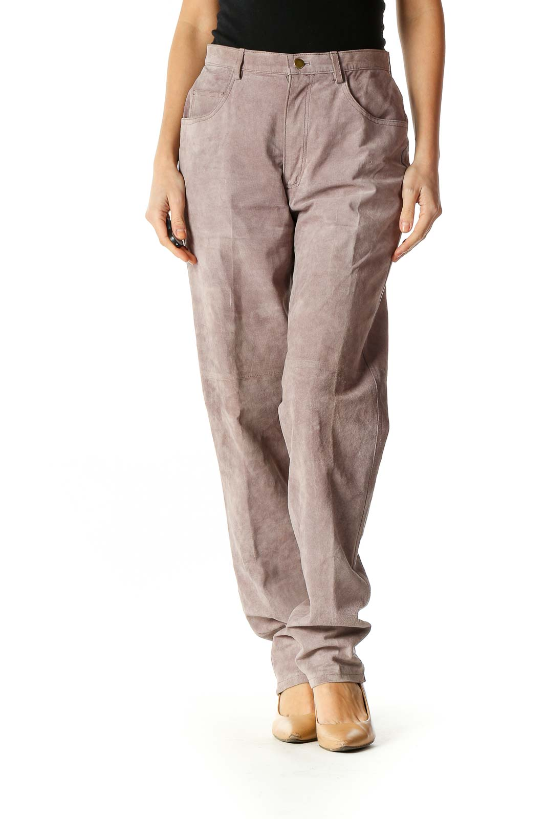 Beige Textured Casual Pants Front