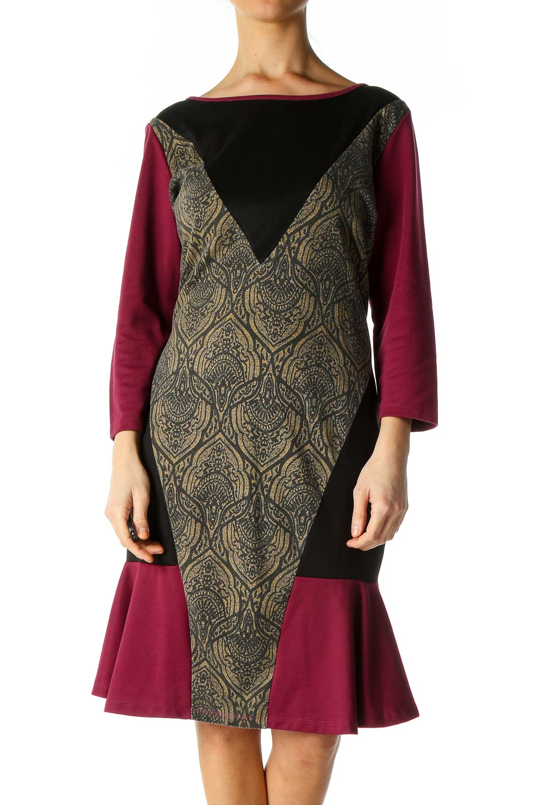 Brown Solid A-Line Dress Front
