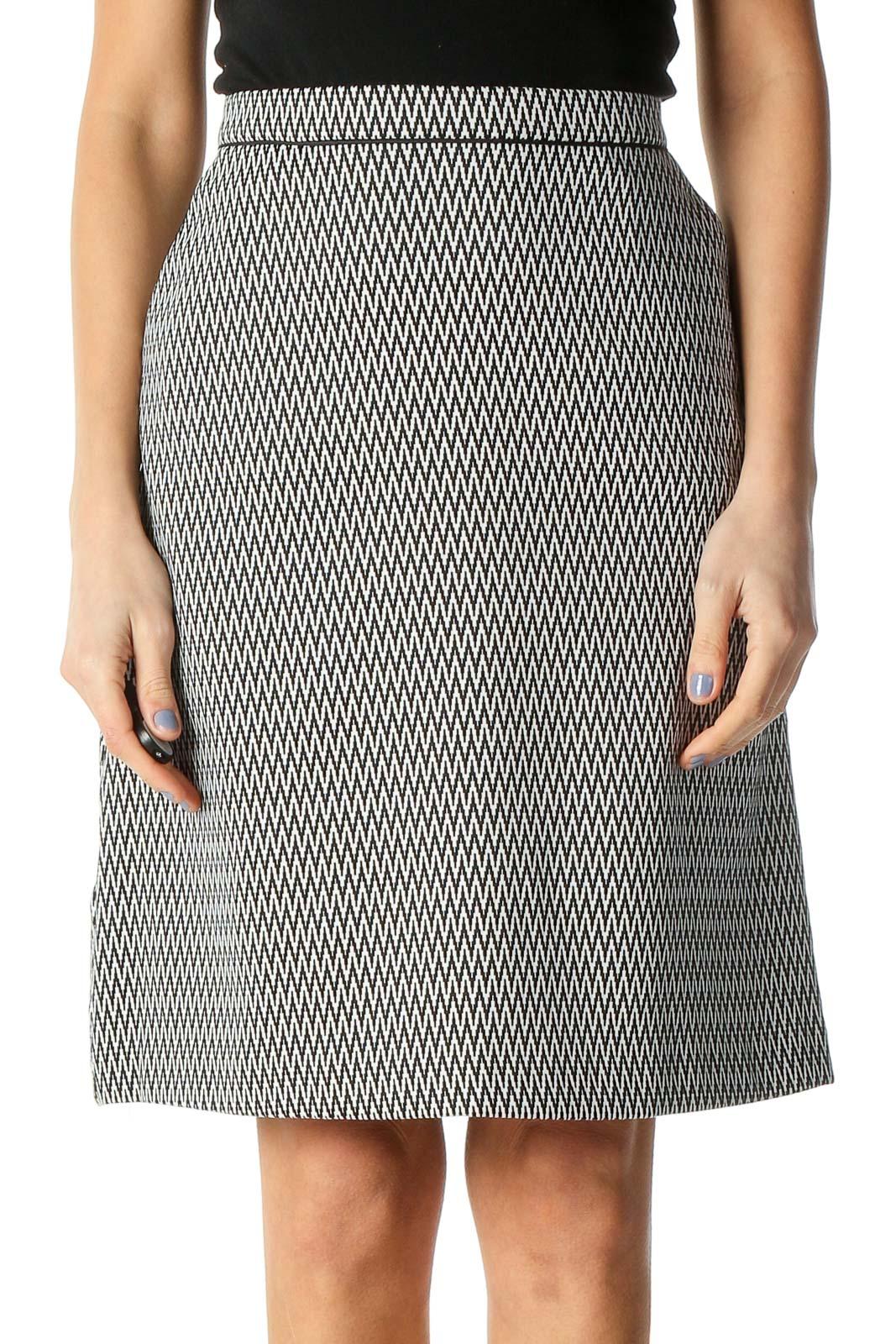 White Chevron Brunch A-Line Skirt Front