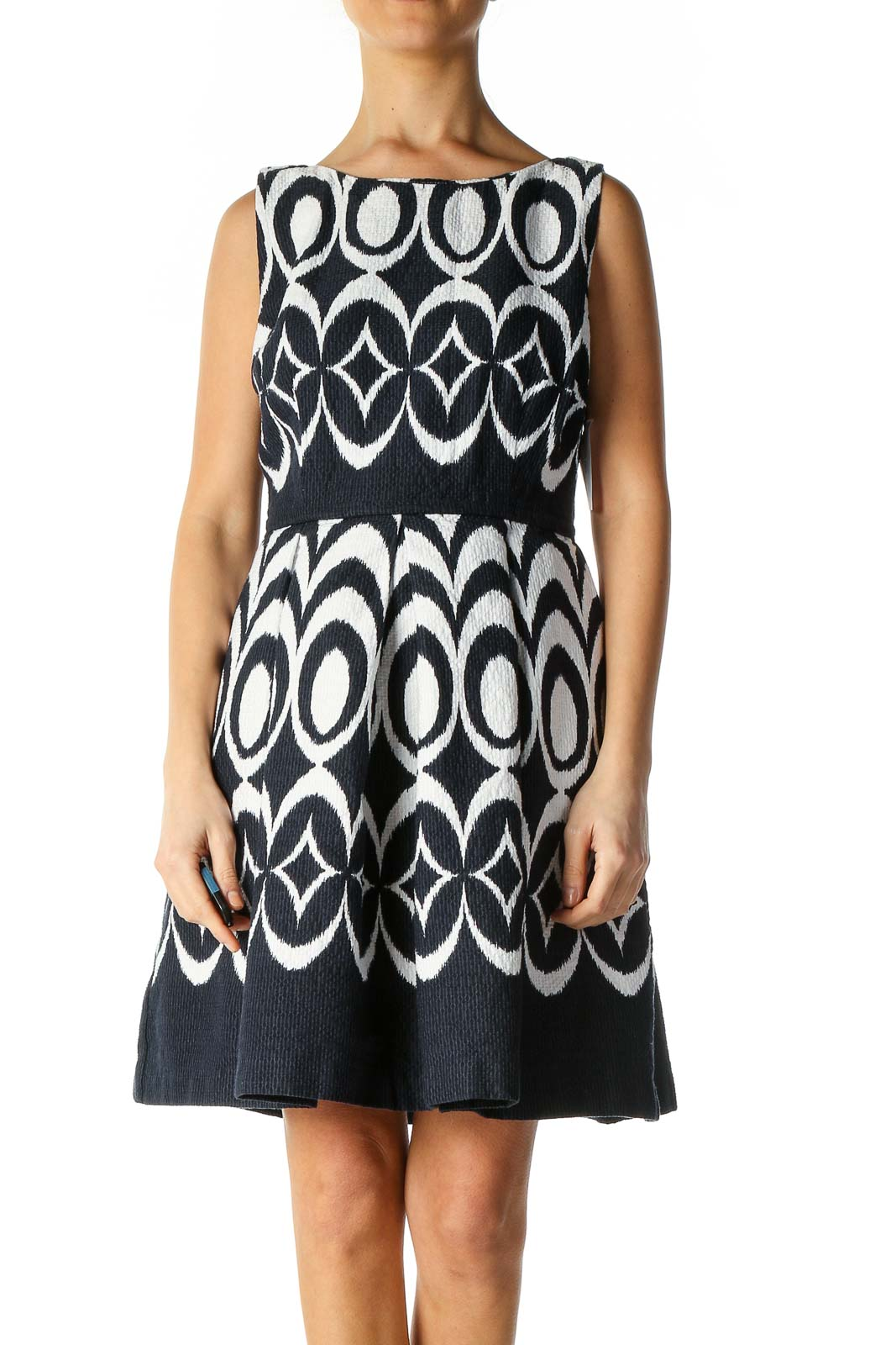 White Graphic Print A-Line Dress Front
