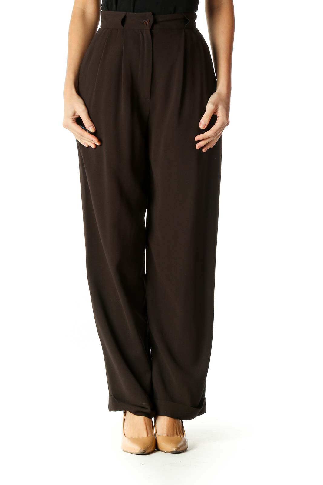 Brown Solid Classic Trousers Front