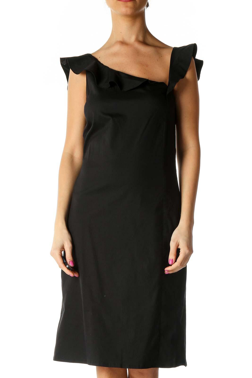 Black Solid Retro A-Line Dress Front