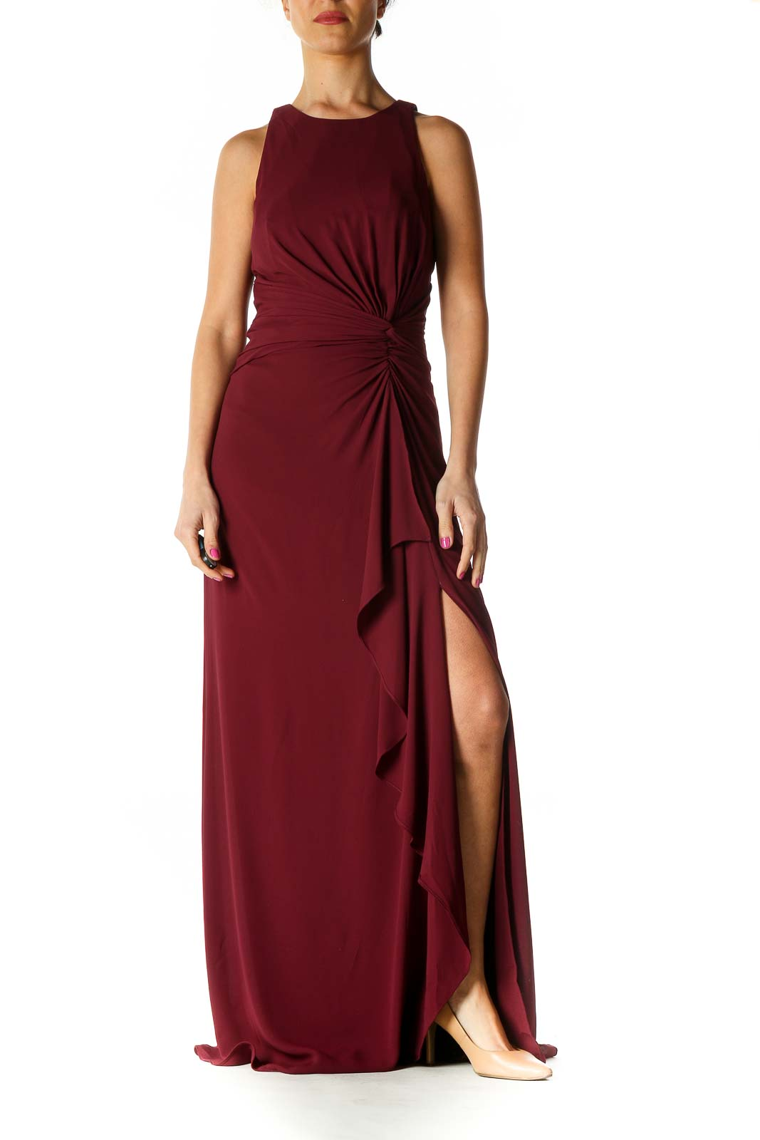 Red Solid Column Dress Front