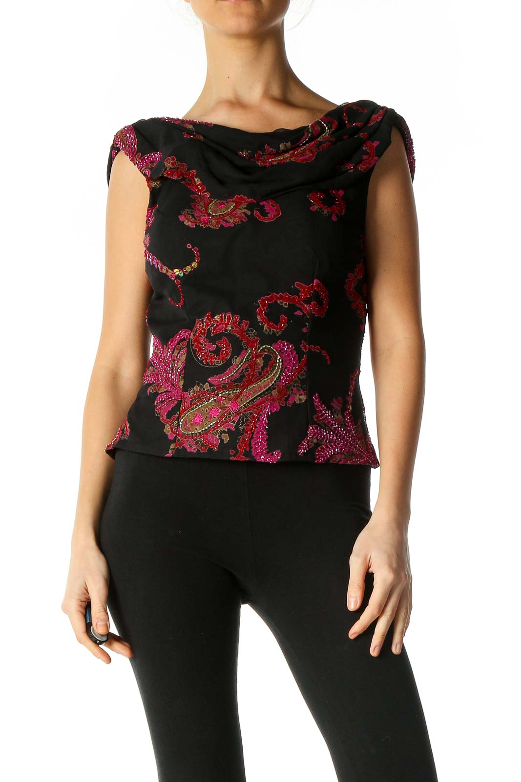 Black Graphic Print Casual Blouse Front