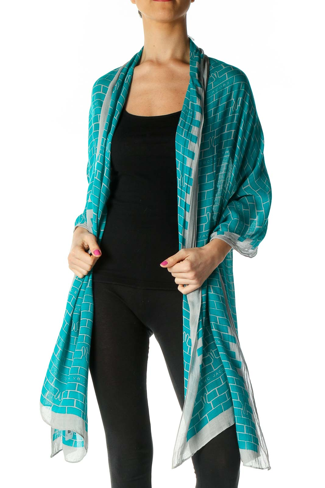 Green Printed Scarf Front