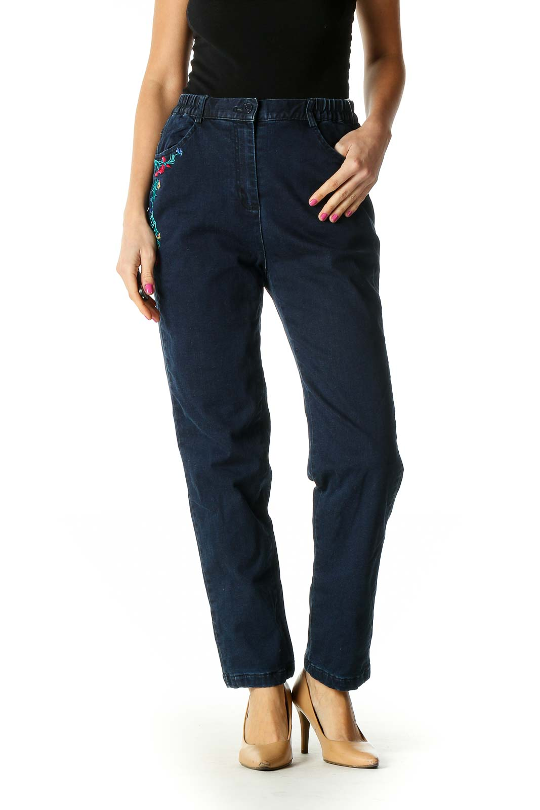 Blue Casual Straight Leg Jeans Padded Inside Front