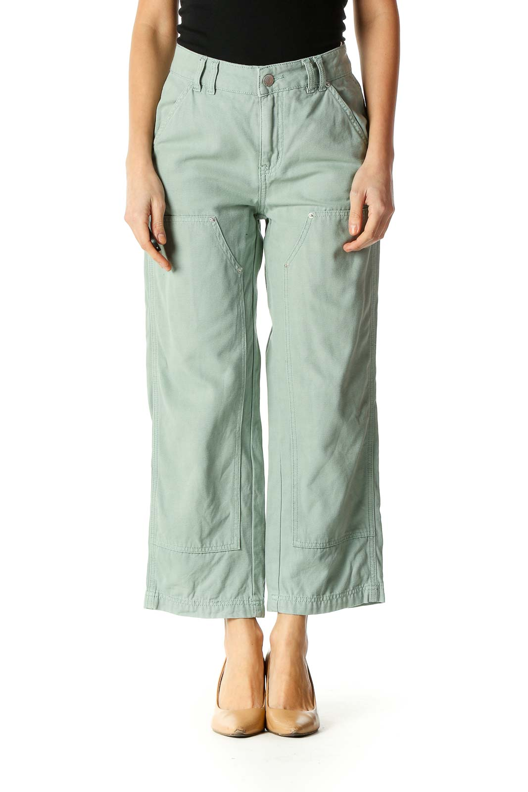 Green Casual Wide Leg Pants Front