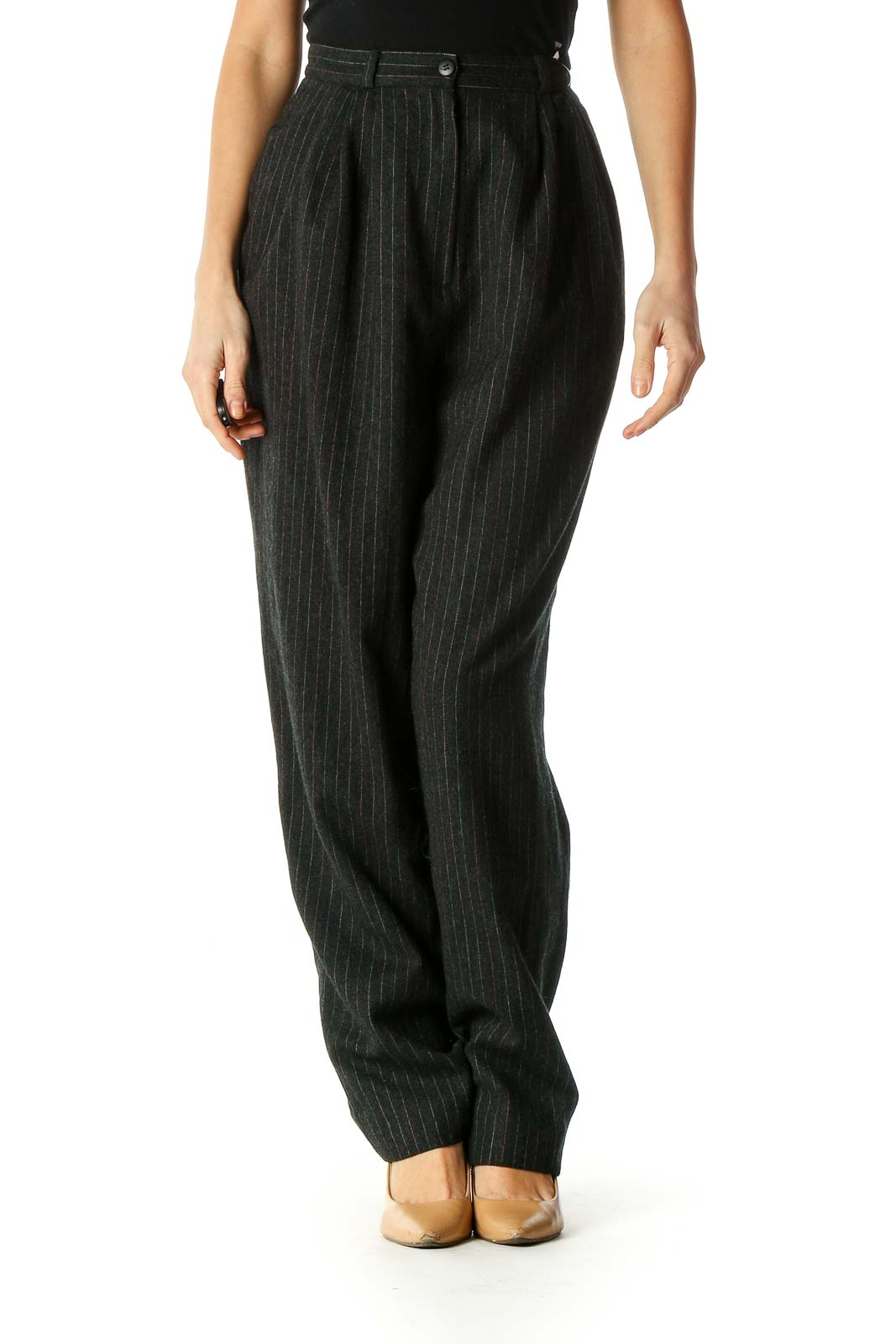 Black Striped Casual Trousers Front