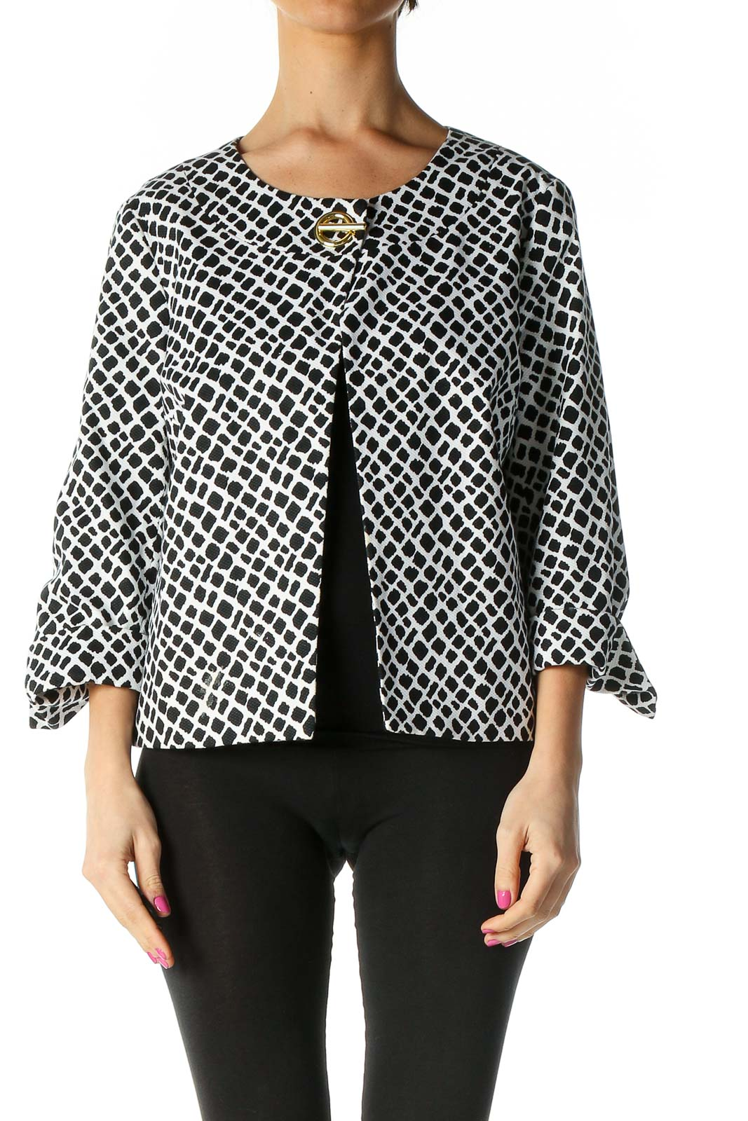 Black Casual Print Jacket Front