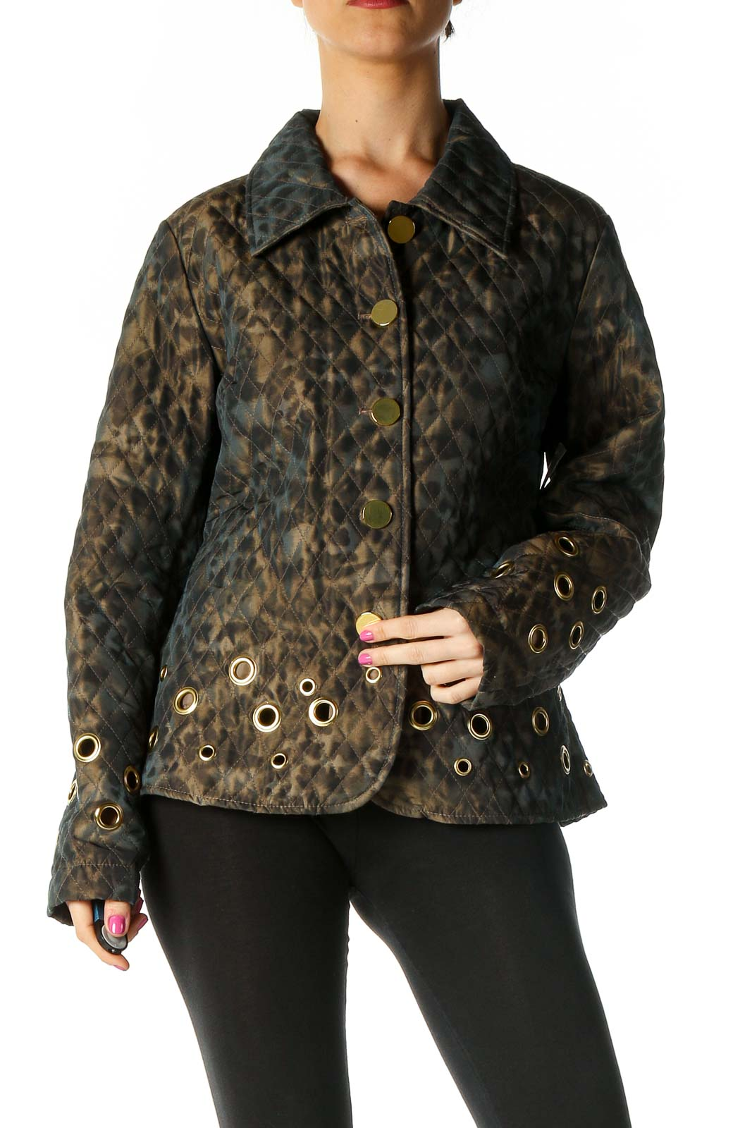 Brown Printed Quilted Jacket Front